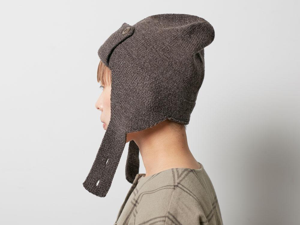 Wool Knit Flight Cap Black3