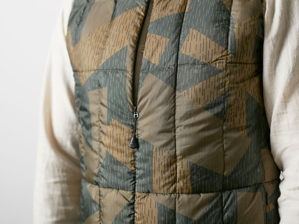 Printed Inner Down Vest L Brown5