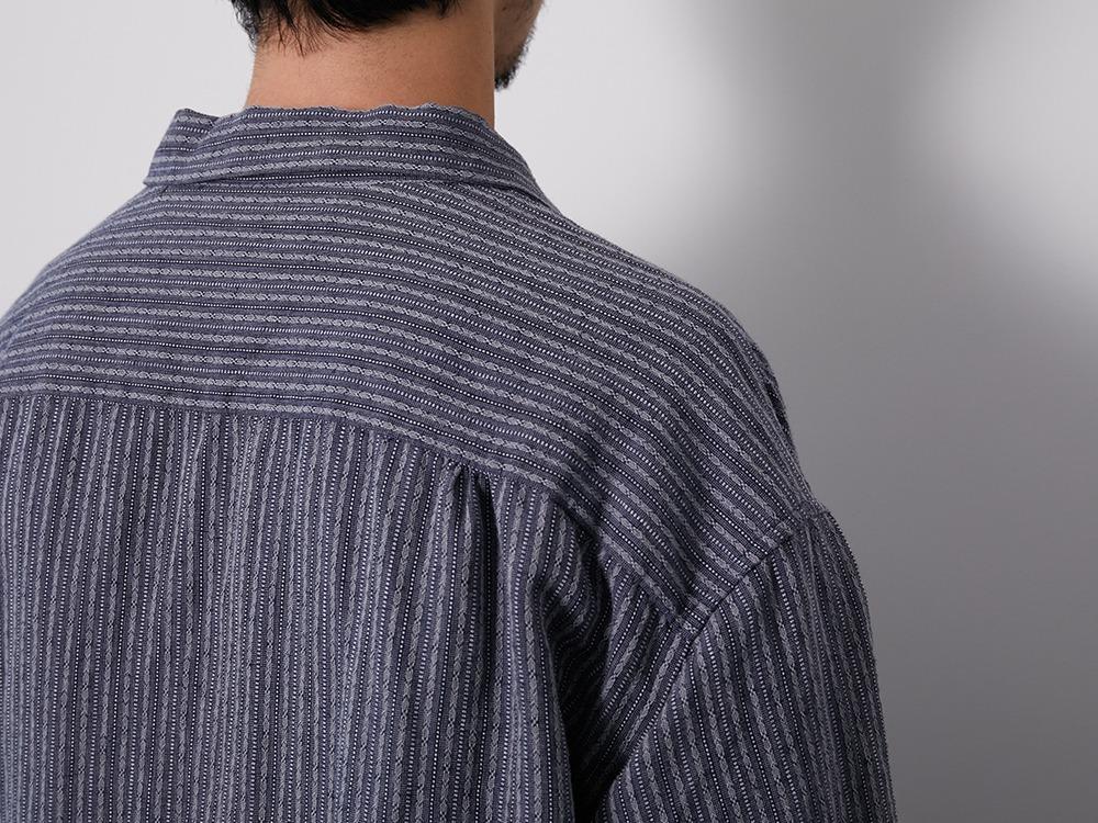 C/L Dobby Stripe Long Shirt M Navy
