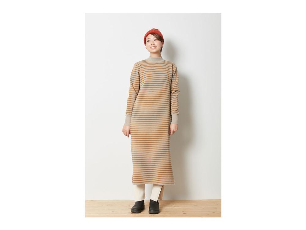 Wool Linen/Pe Dress 1 Oatmeal×Mustard