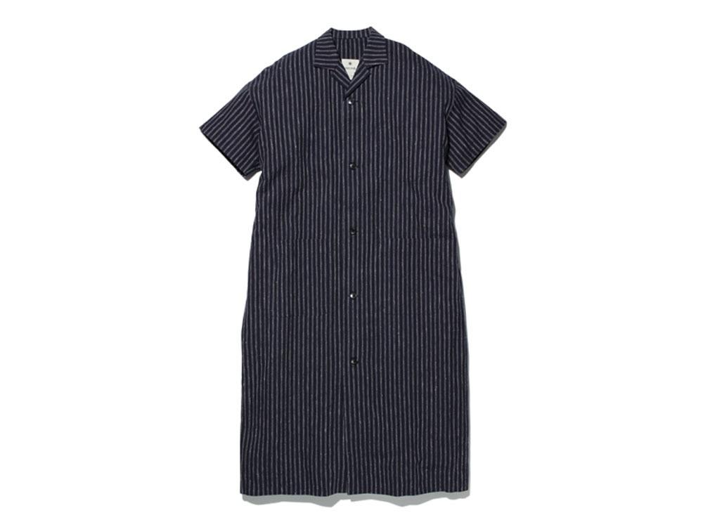 コットンリネン ストライプ ロングシャツ M ネイビー