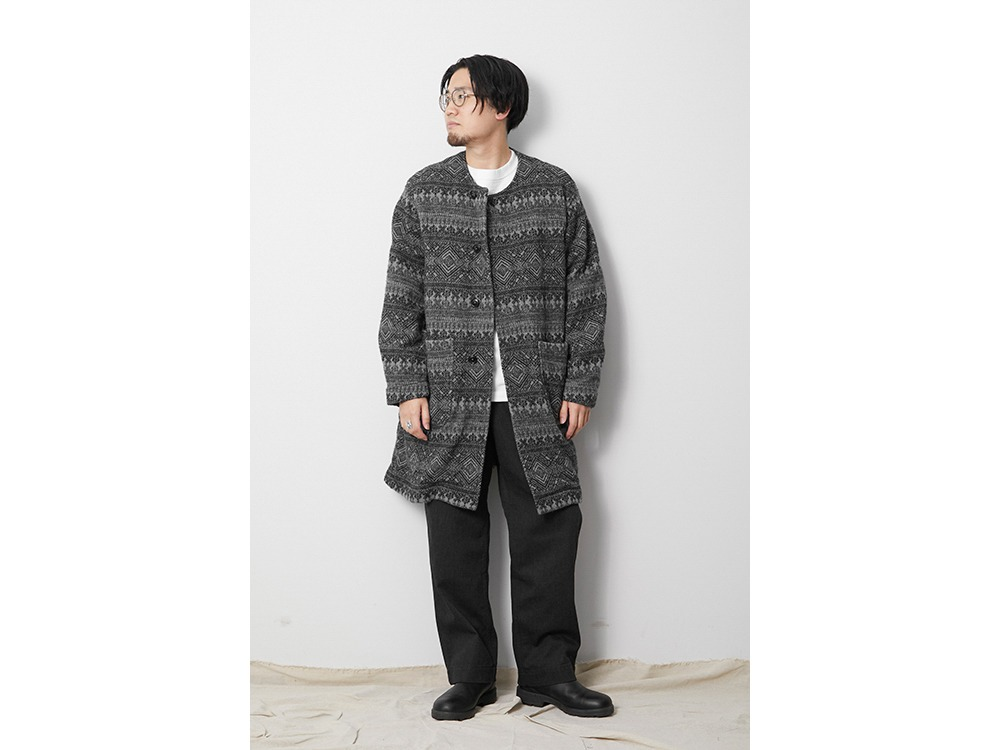 Shetland Cotton JQ Tweed Coat S Brown