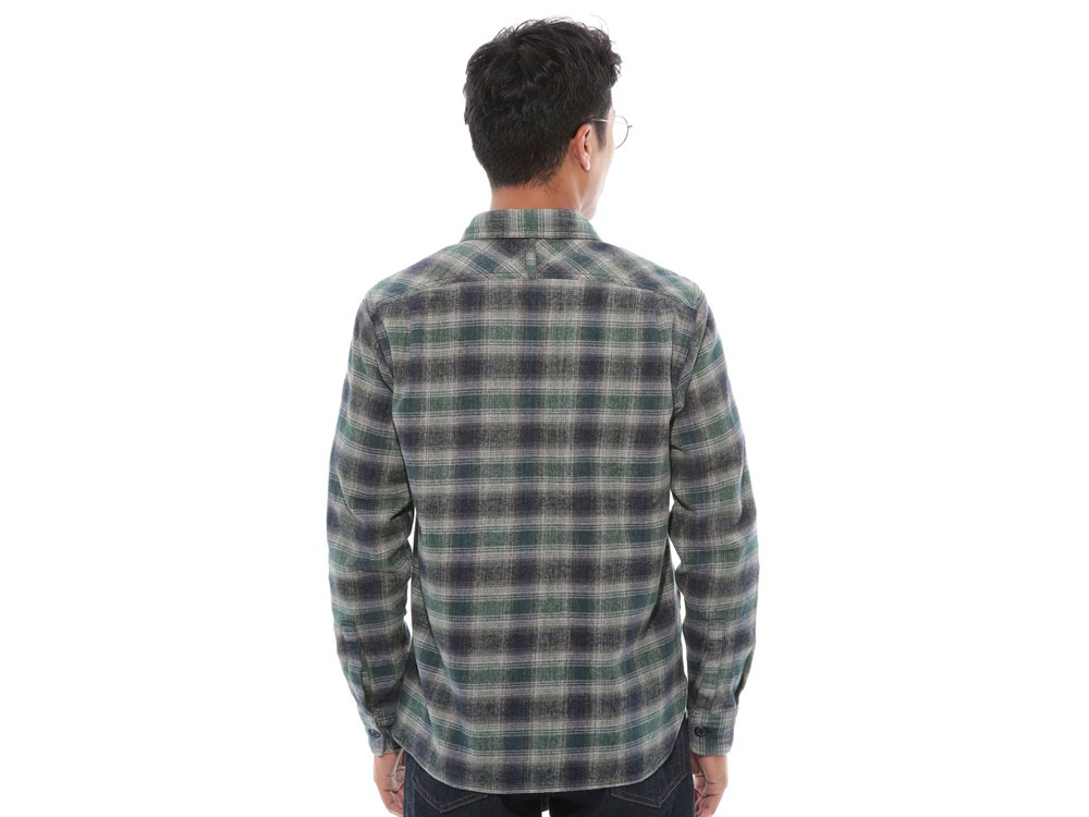 Hand-Dyed Heavy Flannel Check Shirt M Green4