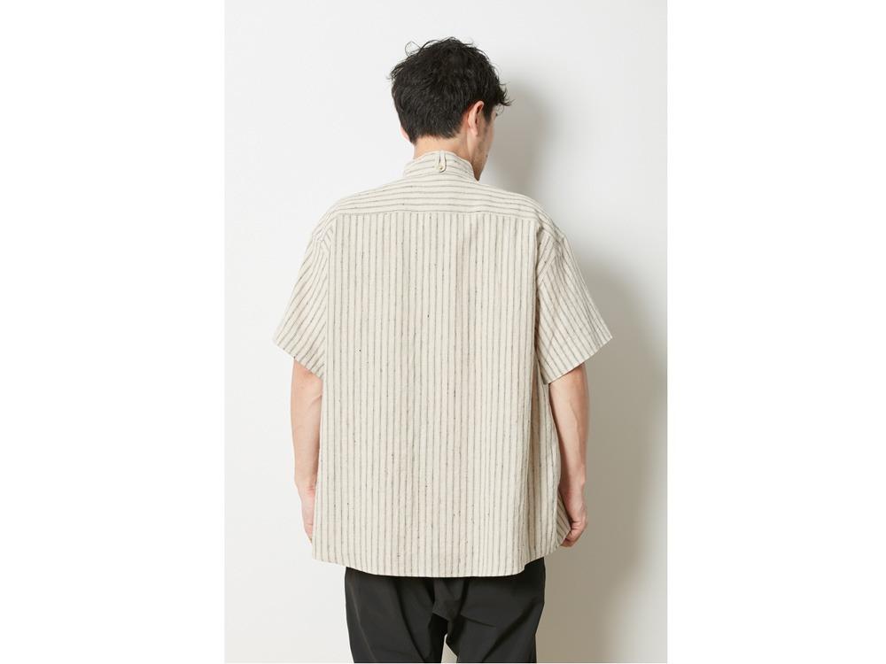 コットンリネン ストライプシャツ XL ネイビー