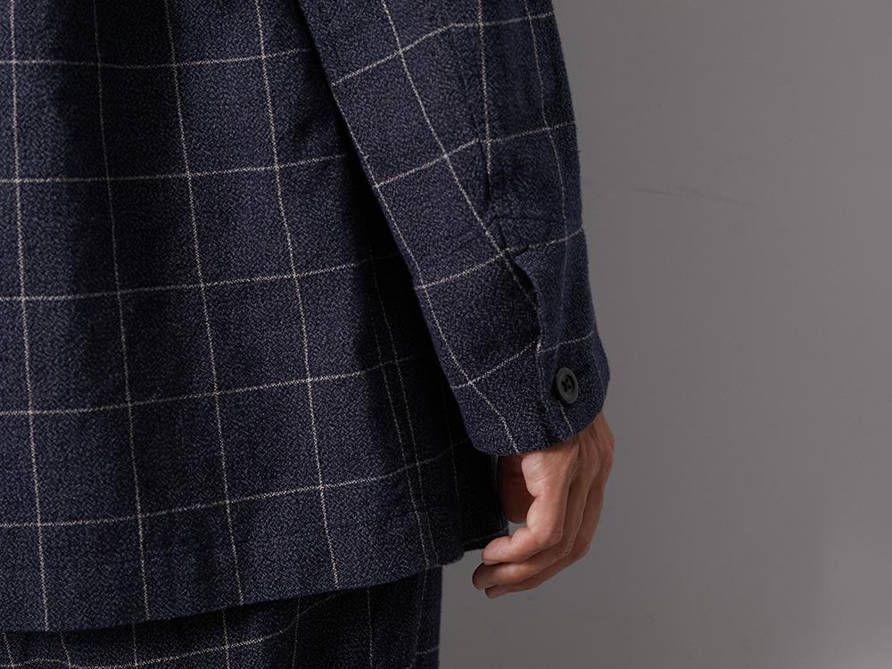 C/L Check Tweed Jacket M Navy