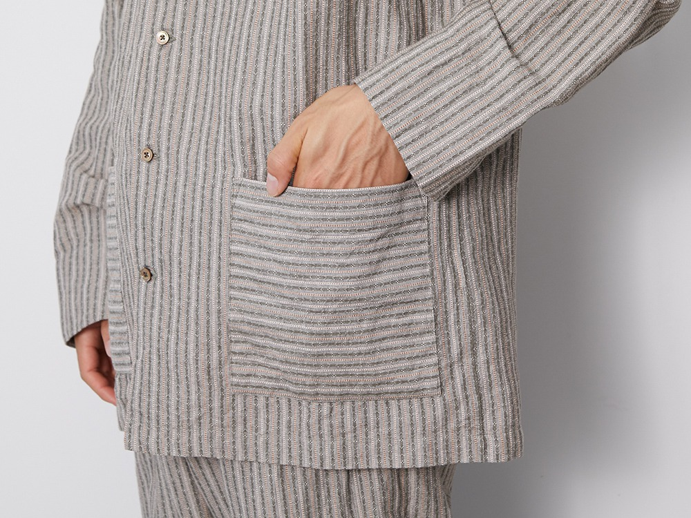 C/L Dobby Stripe Shirt L Beige