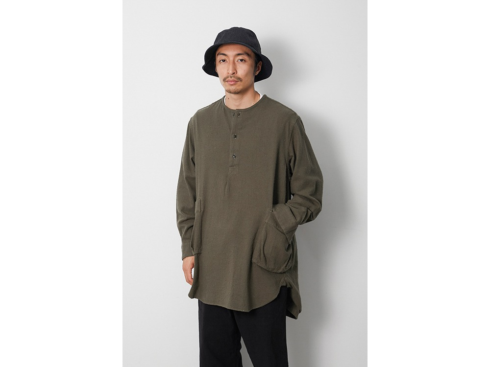 Cotton Silk Serge Long Shirt M Ecru