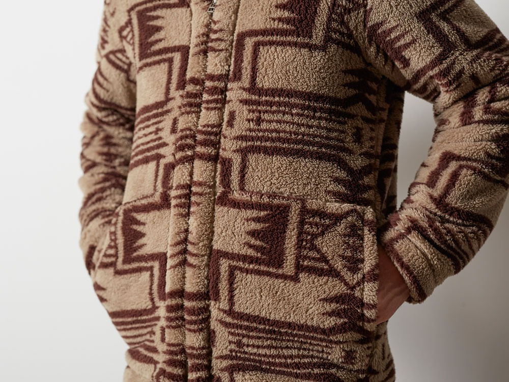 Printed Fleece Jacket S Beige×Brown5
