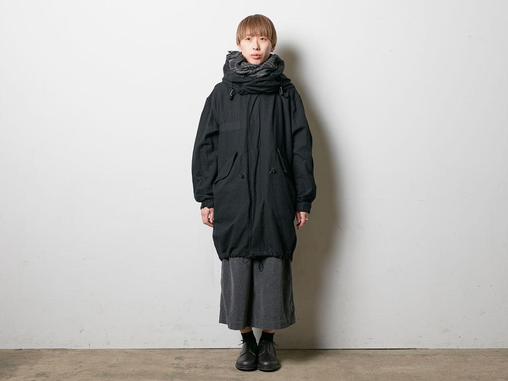ウールミリタリーライニングコート L Black1