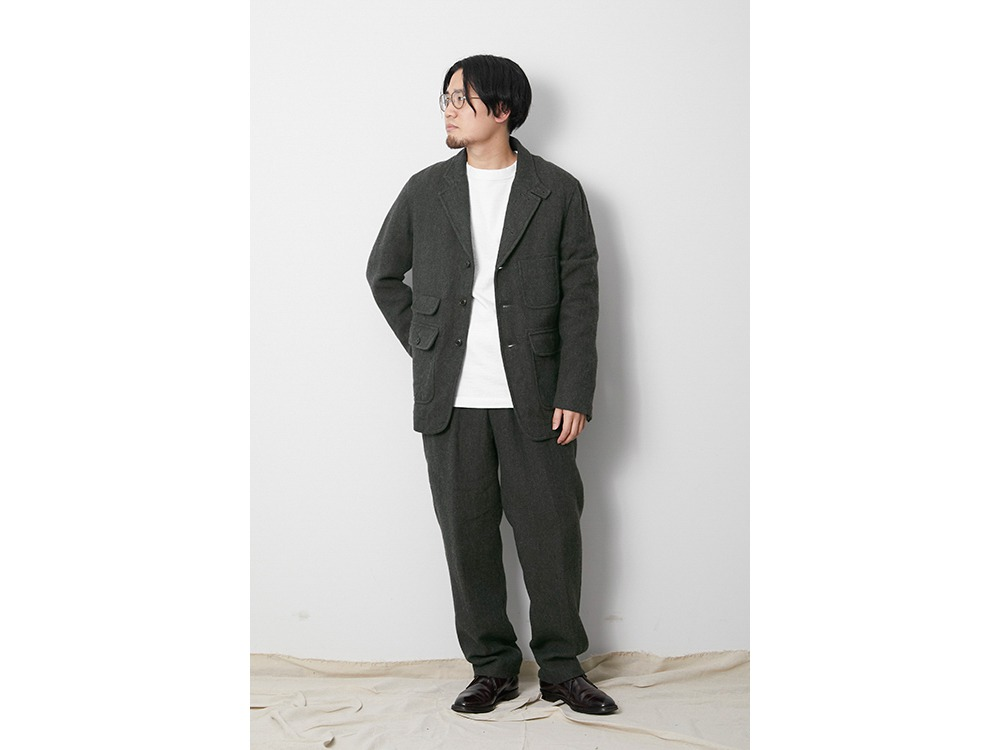 Wo/Li Herringbone Tweed Jacket L Beige