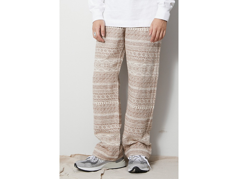 Cotton Silk Jacquard Easy Pants M Grey