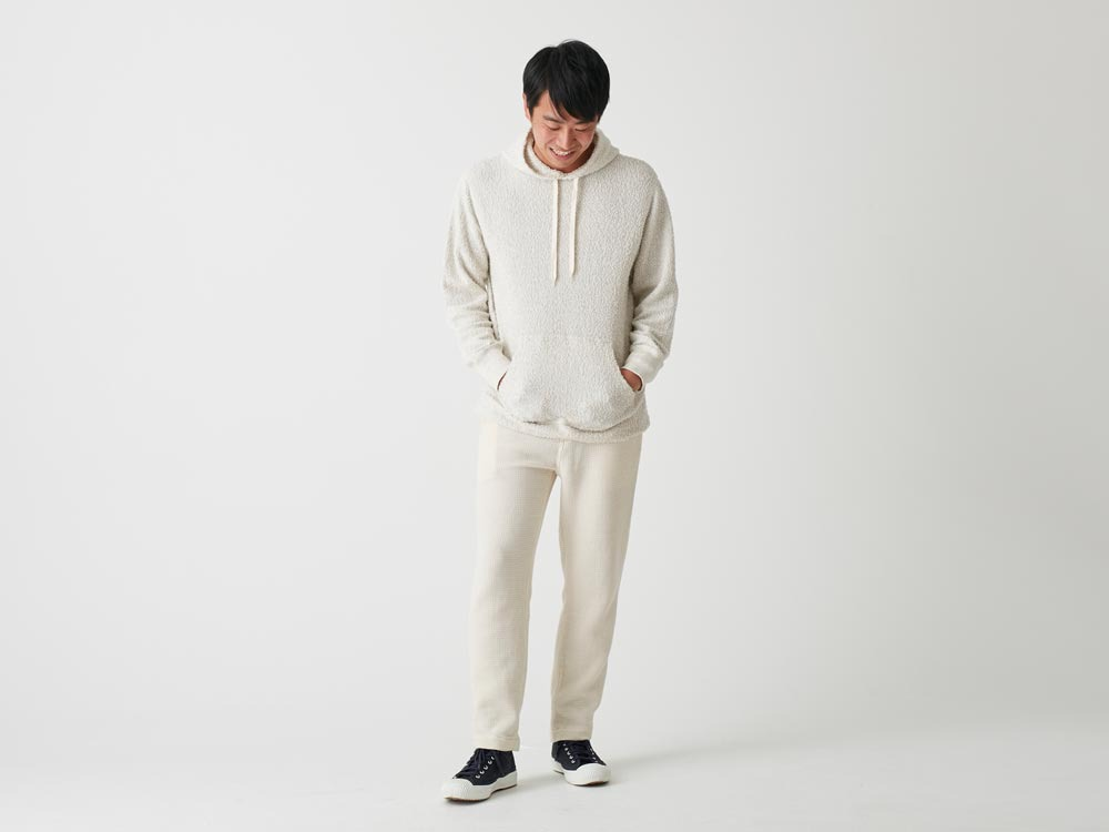 Long Loop Sweat Hoodie L White1
