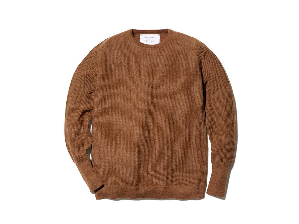 Waffle Crewneck Sweater L Camel
