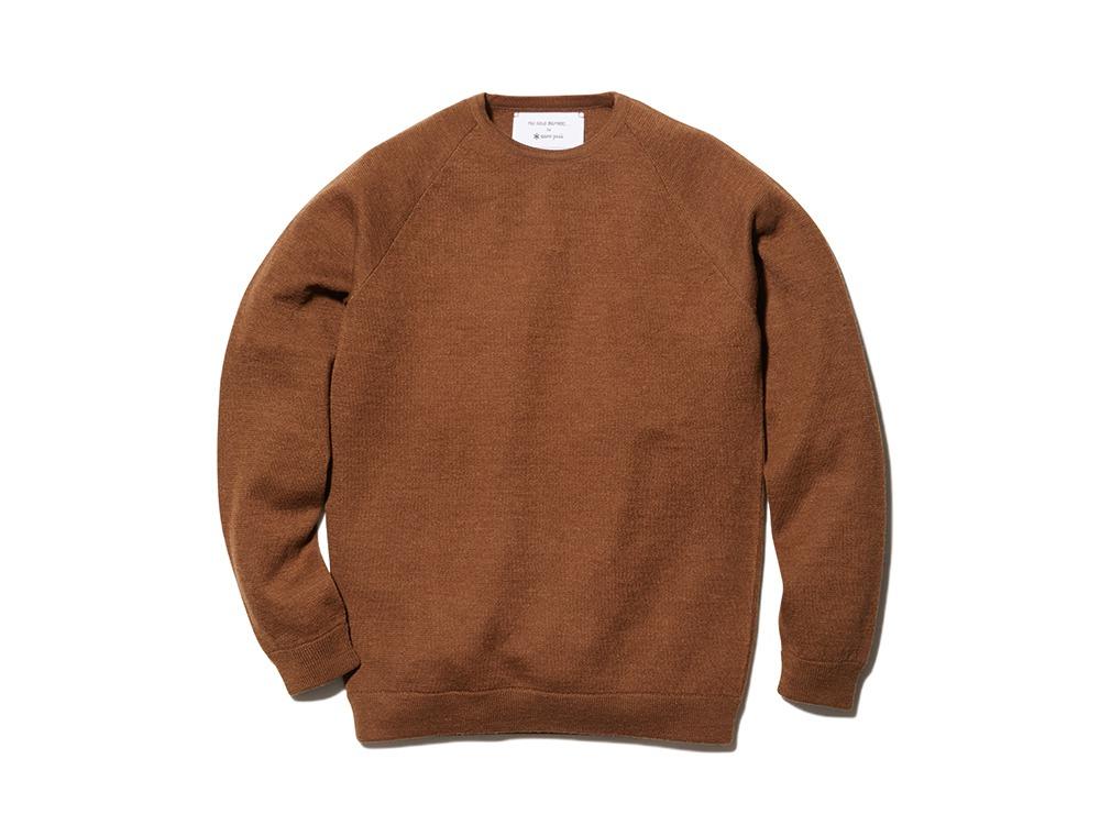 Raglan Crew Neck Knit Sweater L Camel