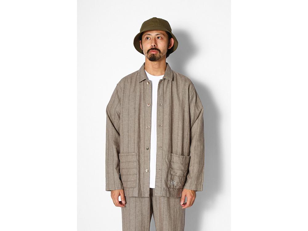 C/L Merange Stripe Shirt Jacket M Olive