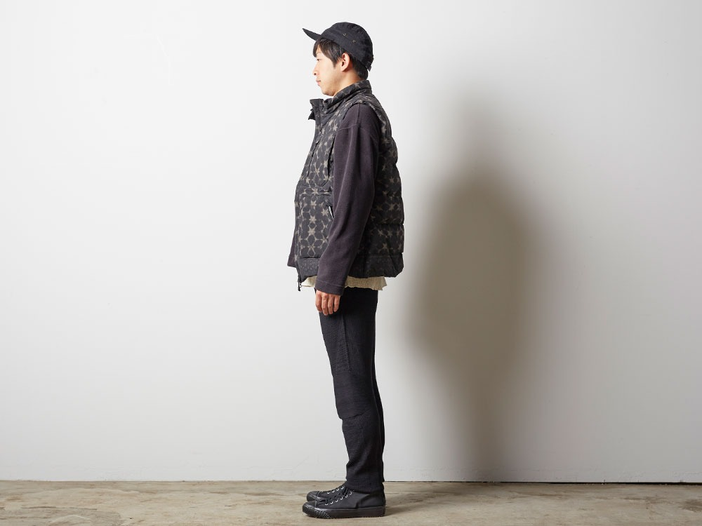 Indigo C/N Down Vest Print M Black2