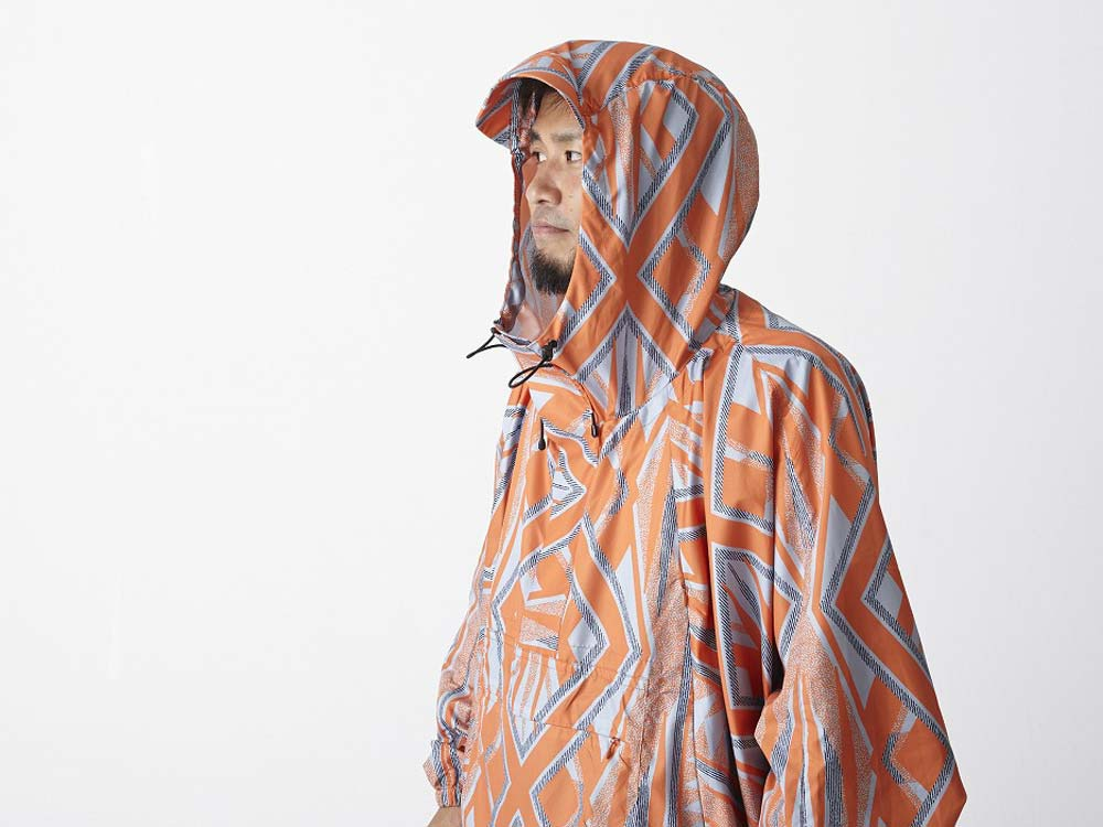 Printed Poncho:Solid Landscape 2 Orange4
