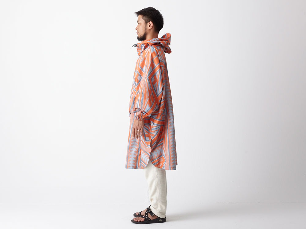 Printed Poncho:Solid Landscape 1 Navy2