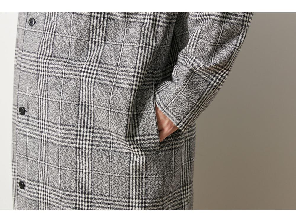 ナシジ ロングシャツジャケット グレンチェック  S ECBK