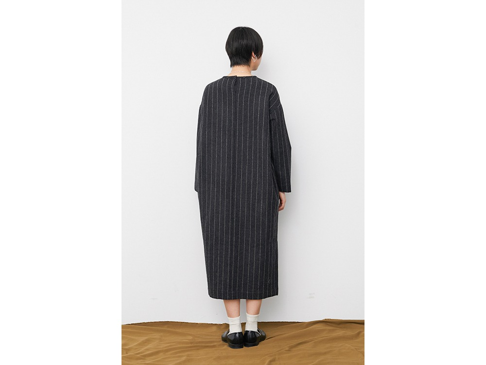 Striped Wool Dress 1 Lightgrey×Brown