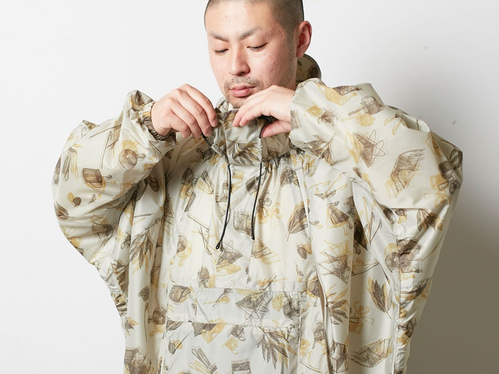 Printed Over Poncho 2 Navy4