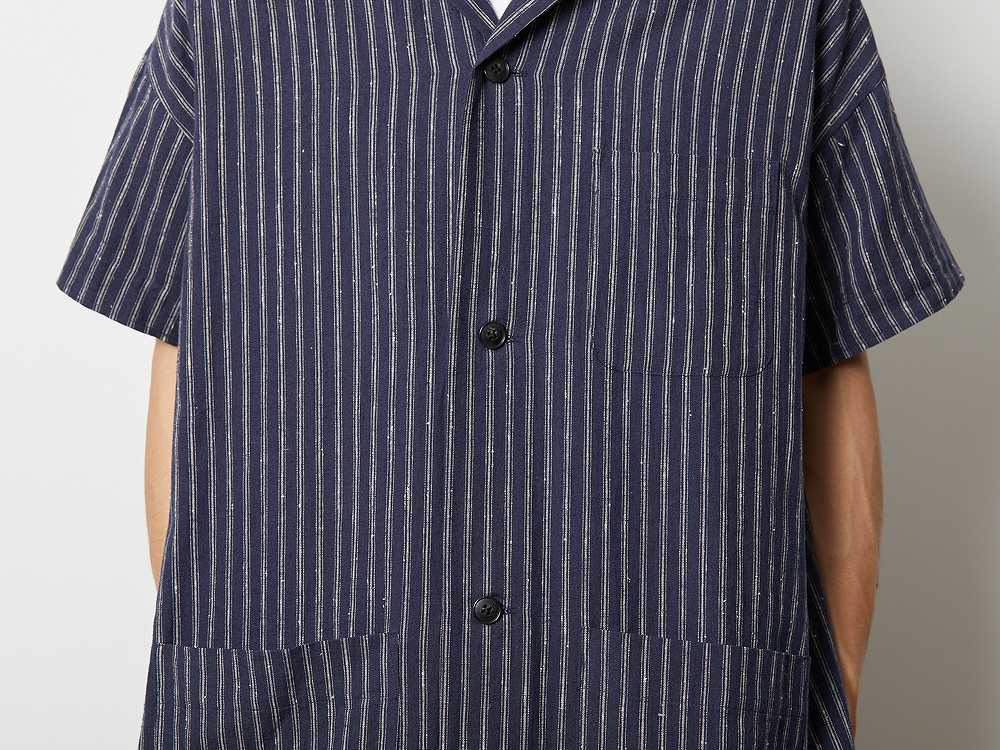 コットンリネン ストライプ ロングシャツ L ネイビー
