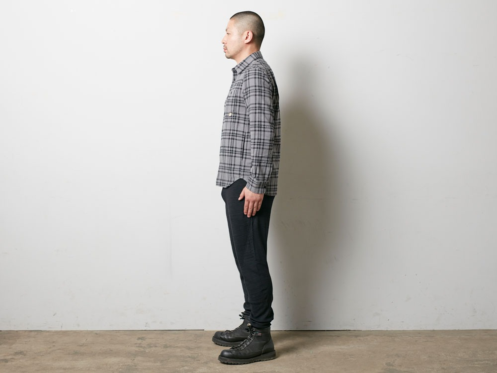 Check Flannel Shirt S Grey2
