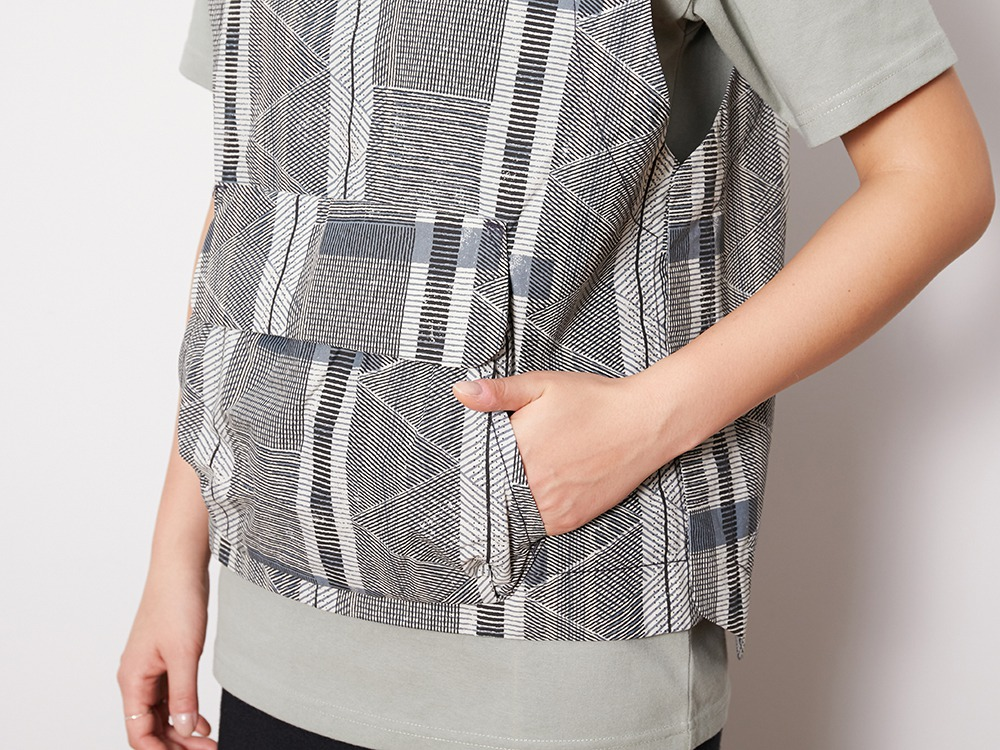 Printed Proof Canvas Vest L EcruNavy
