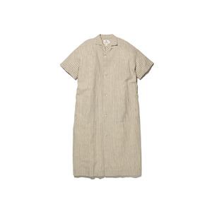コットンリネン ストライプ ロングシャツ
