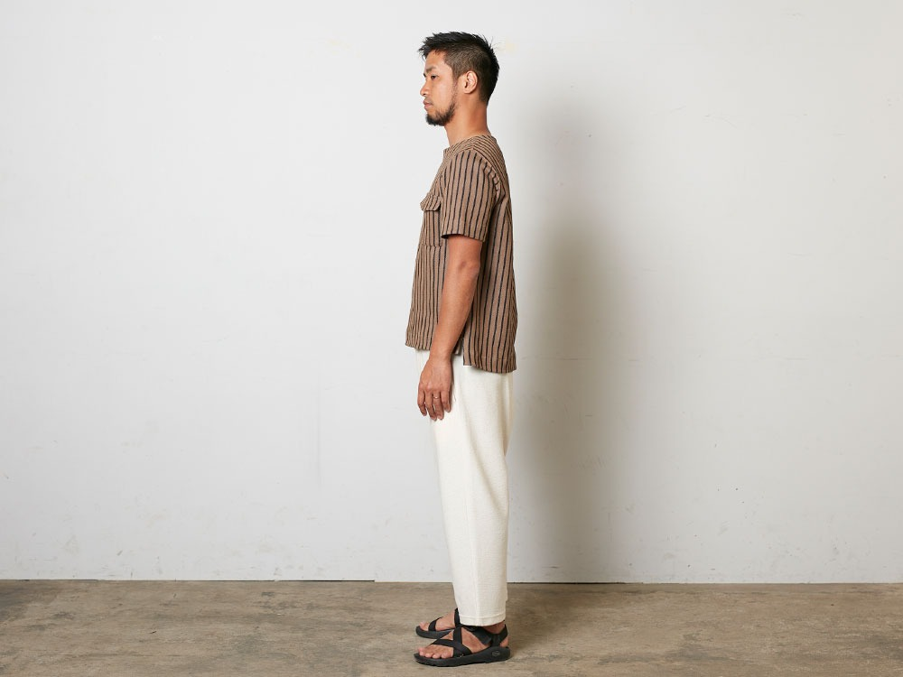 CottonLinenStripedTshirt S Black×Ecru2