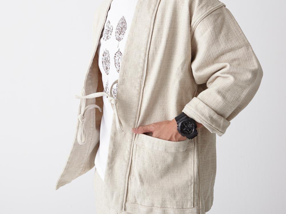 Linen HAORI Jacket S Ecru4