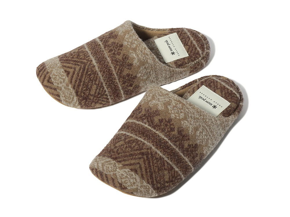 Shetland Cotton JQ Room Shoes 1 Brown