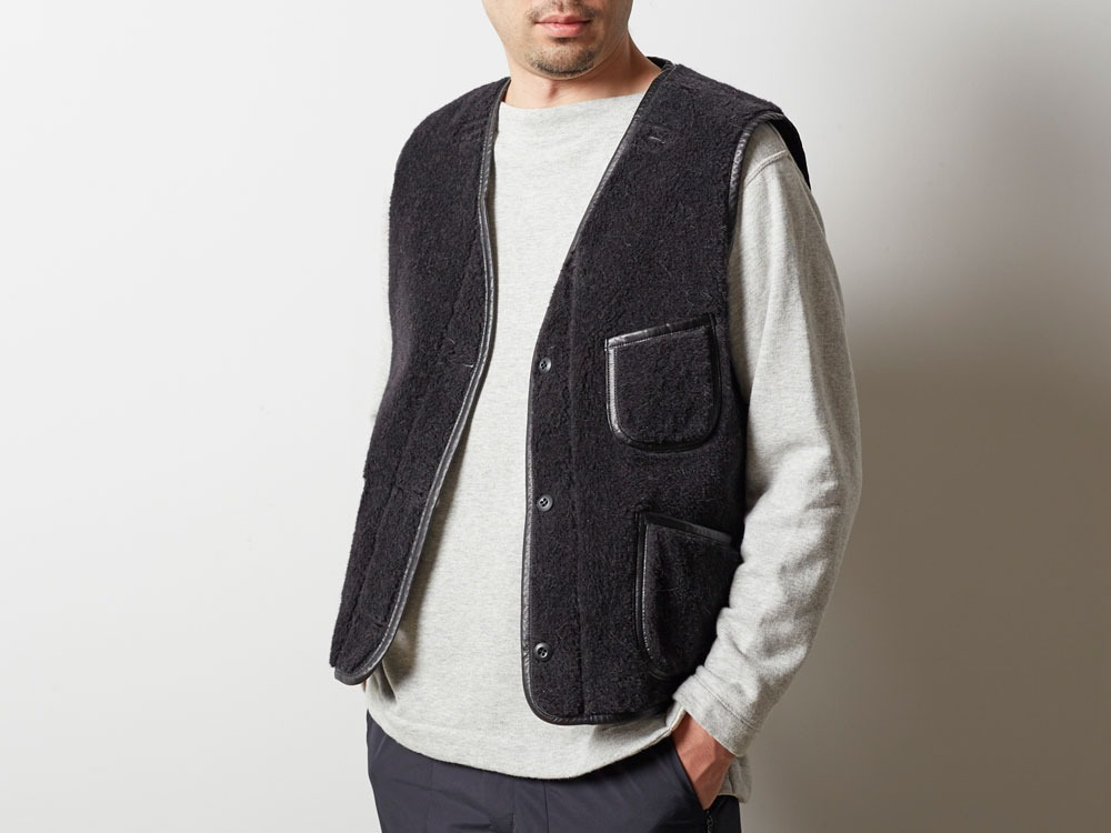 Wool Military Lining Vest M Brown4