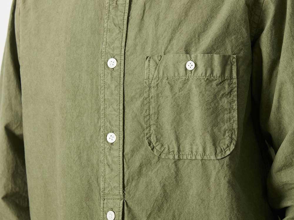 オーガニックコットン スタンドカラー シャツ M ネイビー