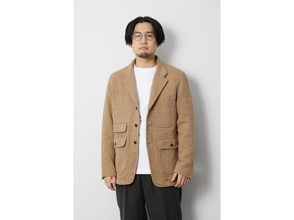 Wo/Li Herringbone Tweed Jacket M Beige