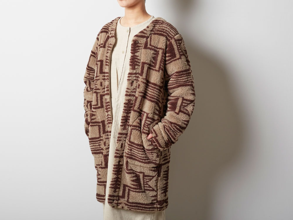 Printed Fleece W's Coat 1 Beige×Brown6