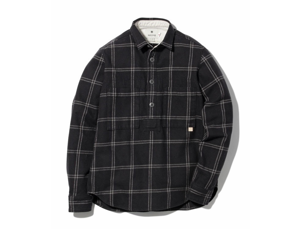 Check Heavy Flannel Pullover L Black0