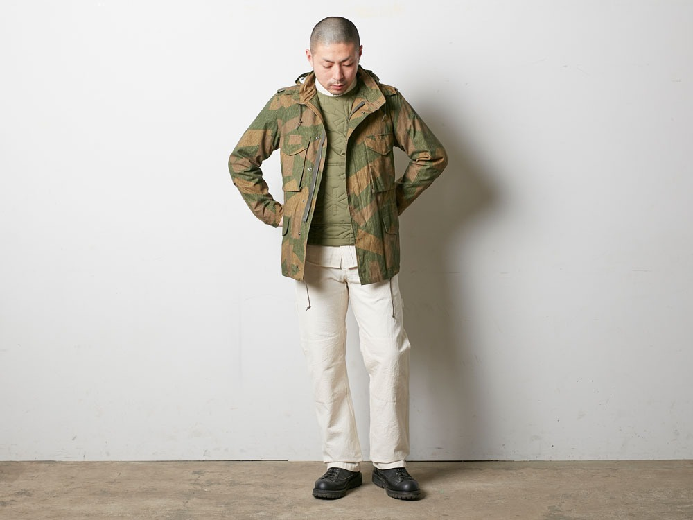 Printed Military Jacket L Khaki1