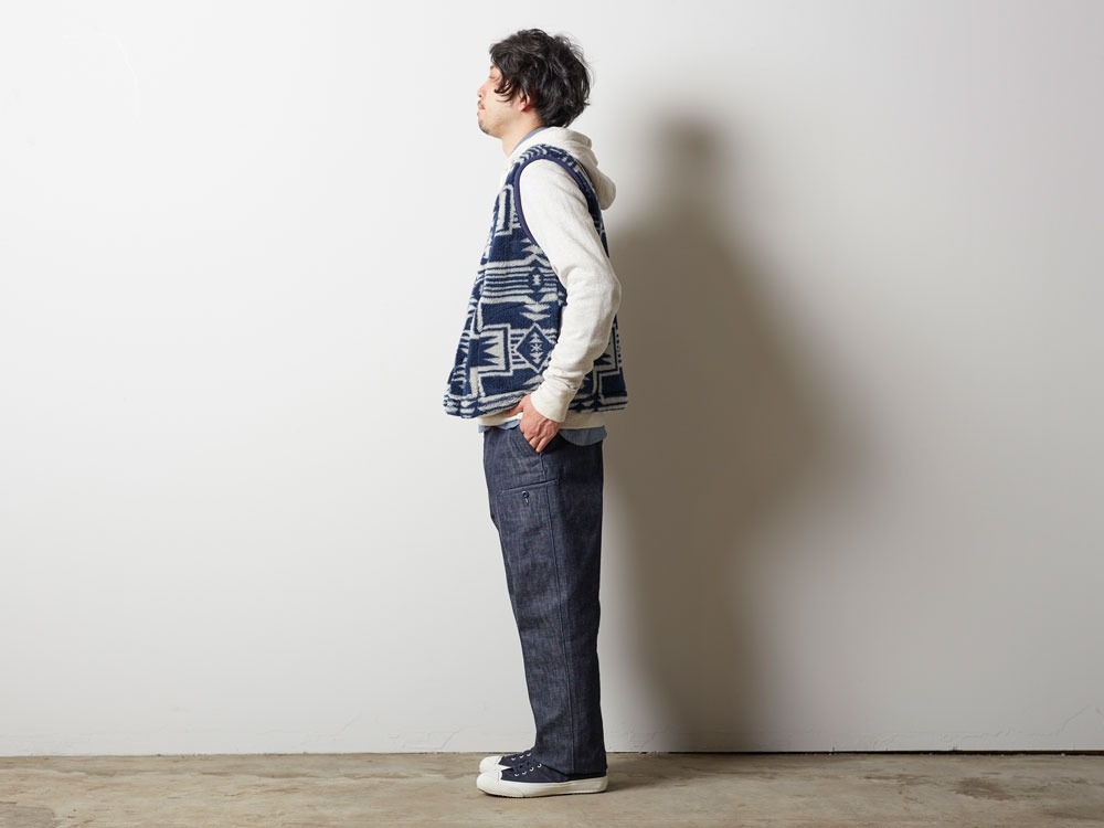 Printed Fleece Vest L Navy×Grey1