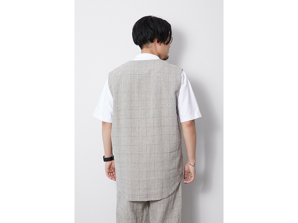 C/L Check Tweed Vest M Beige