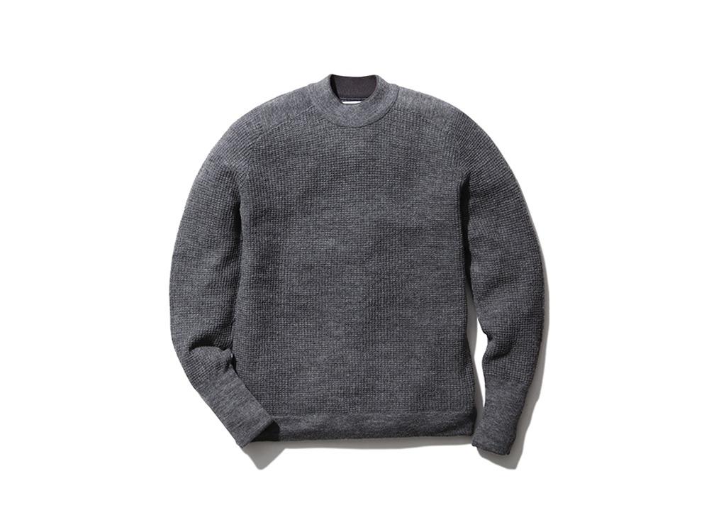 Waffle Mock Neck Sweater L Grey