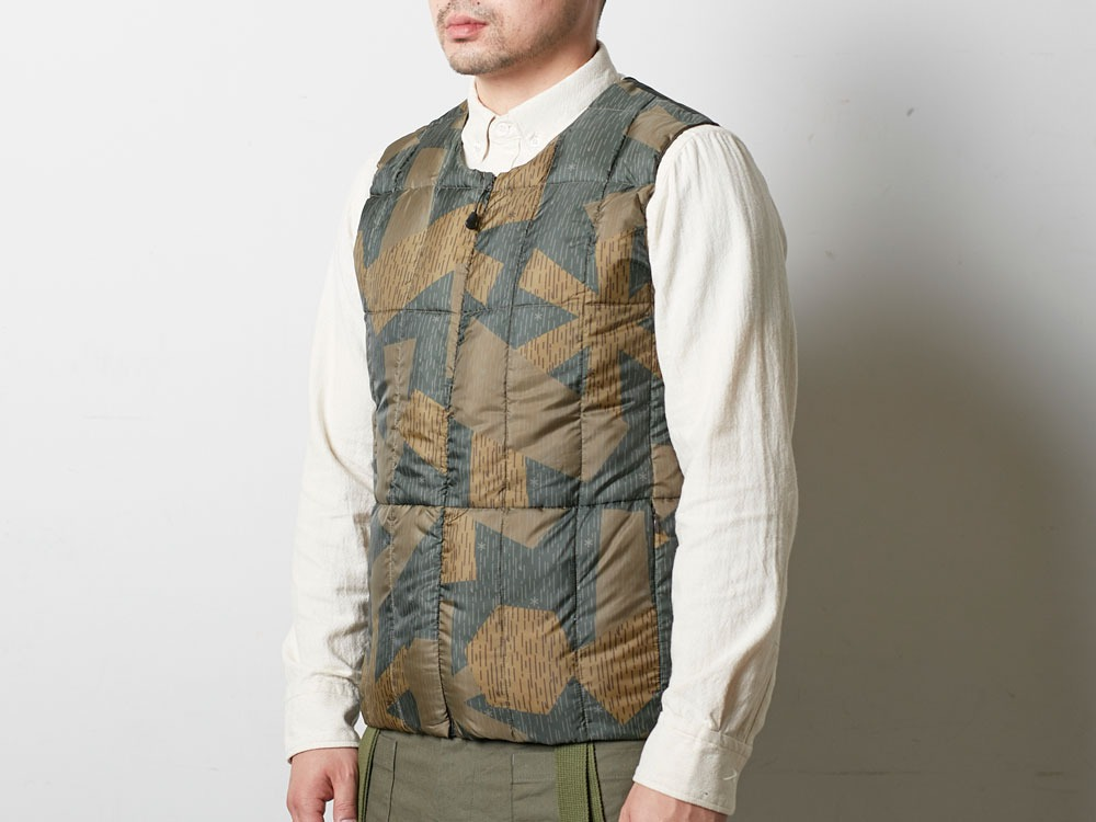 Printed Inner Down Vest L Brown4