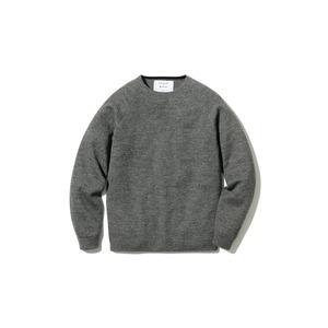 Raglan Crew Neck Knit Sweater M Grey
