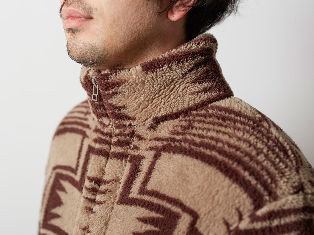 Printed Fleece Jacket S Beige×Brown6