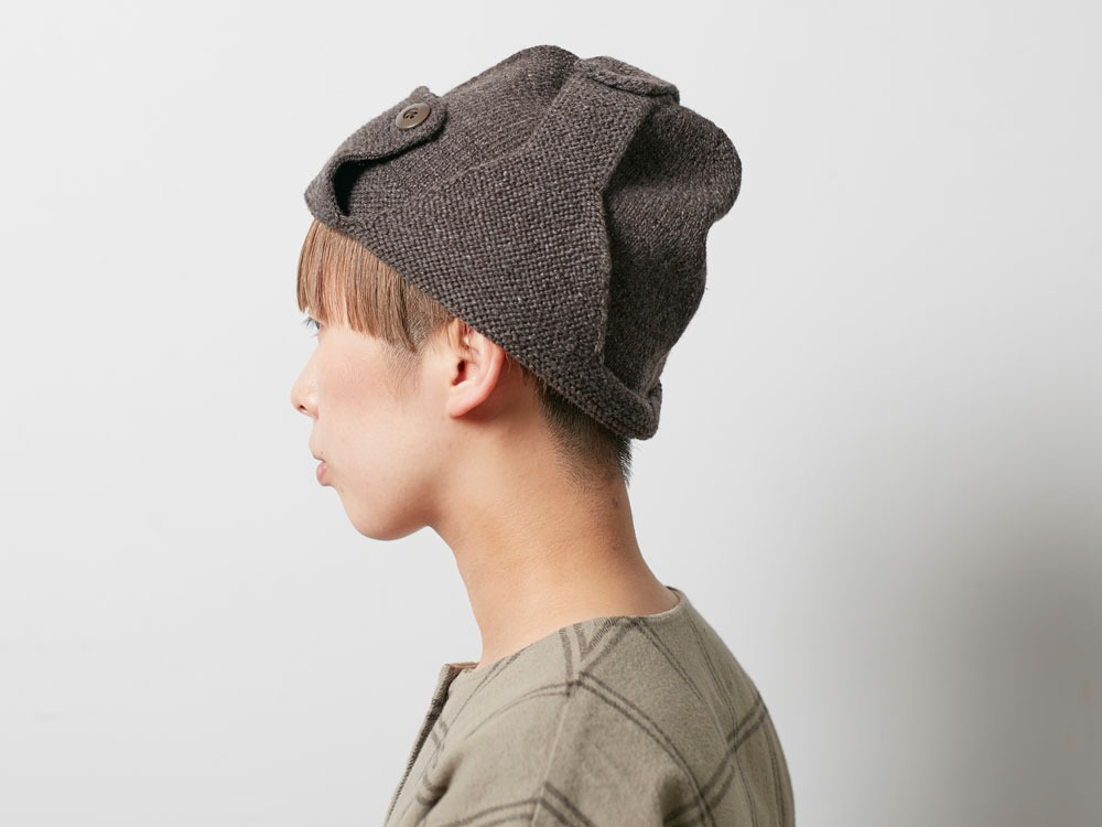 Wool Knit Flight Cap Grey4