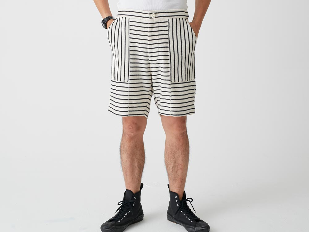 C/L Striped Shorts XL Navy x Ecru1