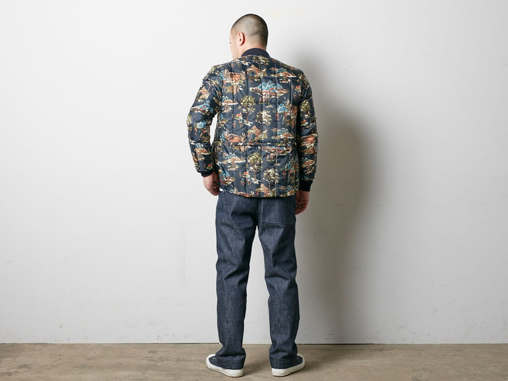 Printed Inner Down Jacket L Navy3