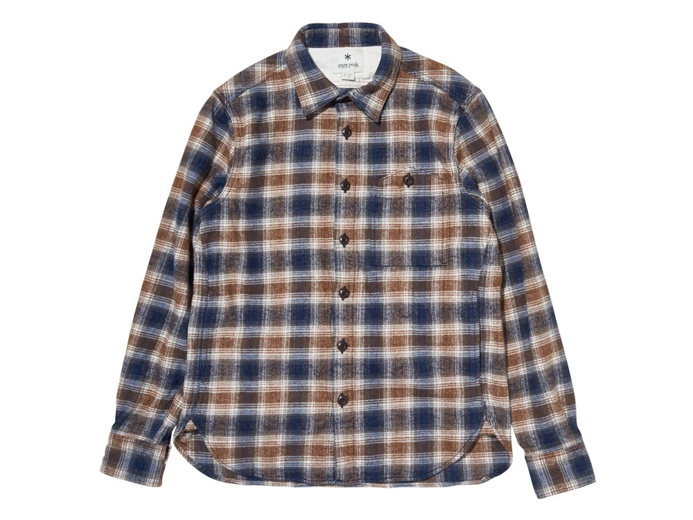 Hand-Dyed Heavy Flannel Check Shirt M Brown0