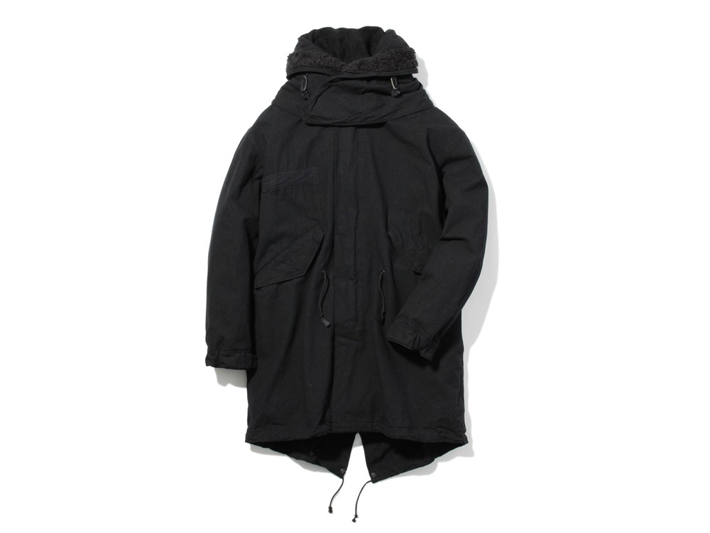 ウールミリタリーライニングコート L Black0