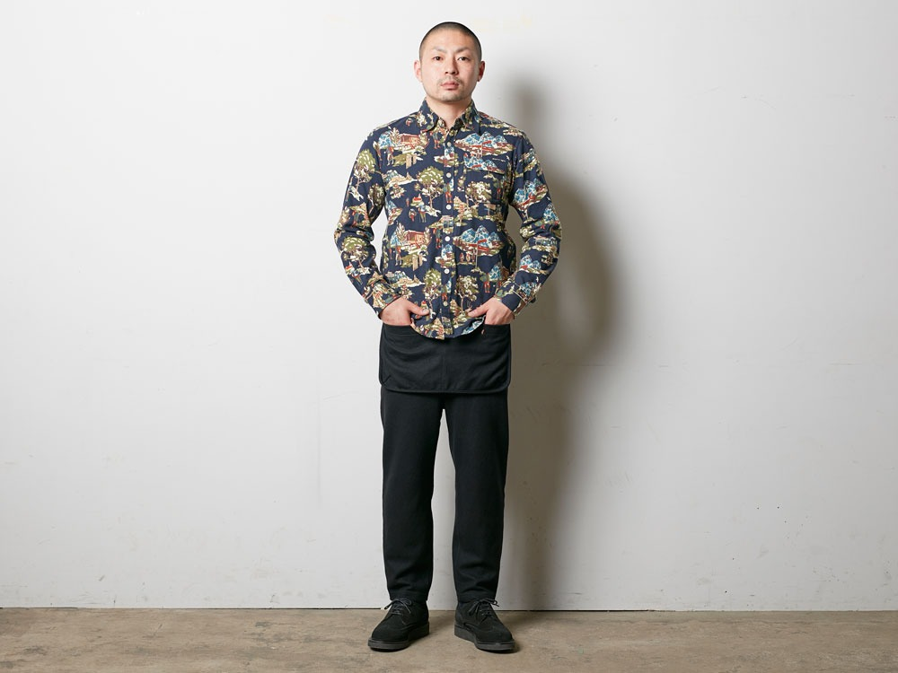 Mountain Printed Shirt L Navy2